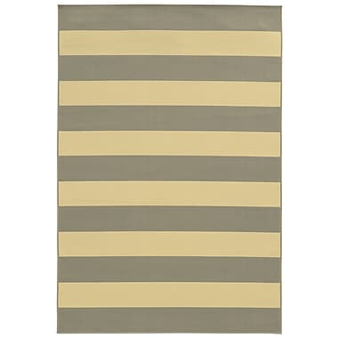 StyleHaven Striped Geometric Grey/ Ivory Indoor/Outdoor Machine-made Polypropylene Area Rug (7'10