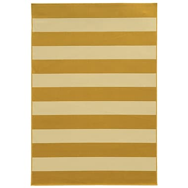 StyleHaven Striped Geometric Gold/ Ivory Indoor/Outdoor Machine-made Polypropylene Area Rug (6'7