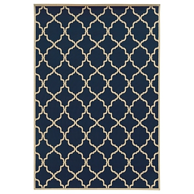 StyleHaven - Geometric Blue/ Ivory Indoor/Outdoor Machine - made Polypropylene Area Rug (7'10