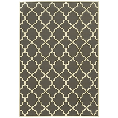 StyleHaven - Geometric Grey/ Ivory Indoor/Outdoor Machine-Made Polypropylene Area Rug (7'10
