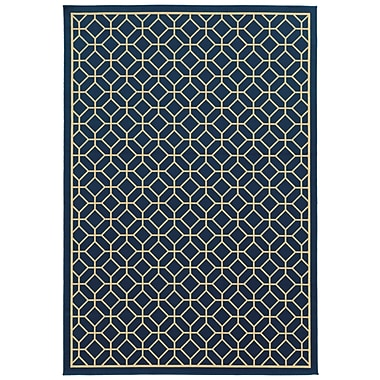 StyleHaven Geometric Blue/ Ivory Indoor/Outdoor Machine-made Polypropylene Area Rug (6'7