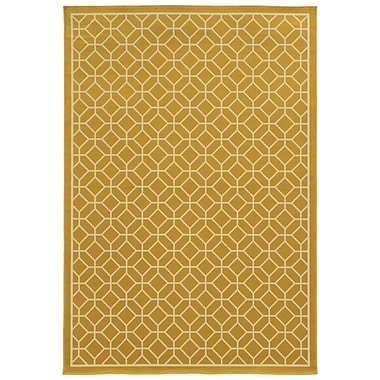 StyleHaven Geometric Gold/ Ivory Indoor/Outdoor Machine-made Polypropylene Area Rug (3'7