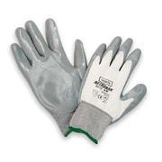 North Safety 9 Gray And White NitriTask Nylon Nitrile Coated Work Gloves With Knit Wrist