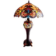 River of Goods Stained Glass Edwardian Style Double Lit 28'' H Table Lamp with Bowl Shade