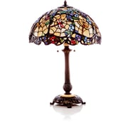 River of Goods Stained Glass Cobweb and Dragonfly 29'' Table Lamp with Bowl Shade
