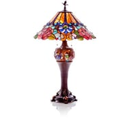 River of Goods Stained Glass Tiffany Style Rose Double Lit 30'' H Table Lamp with Empire Shade