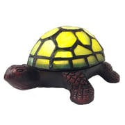 River of Goods Stained Glass LED Wireless Turtle Accent 2.5'' H Table Lamp; Green