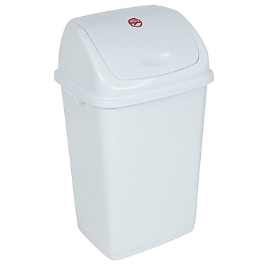 superior performance 13 gallon swing top plastic trash can white staples. Black Bedroom Furniture Sets. Home Design Ideas