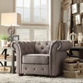 Kingstown Home Carthusia Tufted Button Arm Chair; Grey