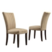 Kingstown Home Wingston Parsons Chair (Set of 2); Fabric - Mocha Brown Stripe