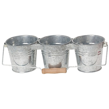 Houston International 8331 Galvanized 3-Pail Planter