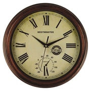 Luster Leaf 20052 Wood/Poly Resin Analog Wall Clock, Brown