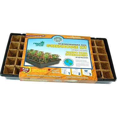Planters Pride RZG50170 50 Fiber Grow Pot Greenhouse Starter Kit, Brown