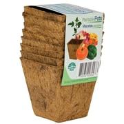 """Planters Pride RSQ03000 8 Count 3"""" Square Fiber Grow Coconut Coir Plantable Pots, Brown"""