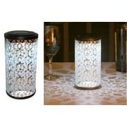 Smart Solar 3022WRM1 Frosted Fretwork Cylinder Table Top Solar Lantern