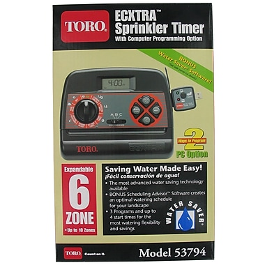 Toro 53794 6 Zone Indoor Sprinkler Timer, Black