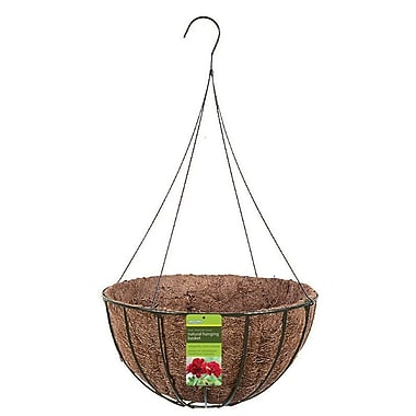 "Gardman R421 14"" Grow Basket with Coco Liner & 4 Wire Hanger, Black"