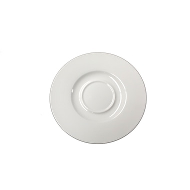 Fine Lines Round Saucer for 8.5oz Cup, Bone White