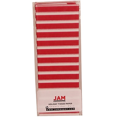 JAM Paper® Christmas Holiday Tissue Paper, Red and White Christmas Stripes, 40/Pack (11824290g)