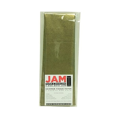 JAM Paper® Shimmer Tissue Paper, Antique Brass Gold Metallic, 15/Pack (1162408g)