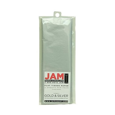 JAM Paper® Tissue Paper, Silver Flat, 15/Pack (7335484g)