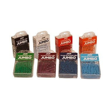 JAM Paper® Coloured Jumbo Paper Clips, Large, Assorted Paperclips, 10 packs of 75 clips, 750/set (221812621)
