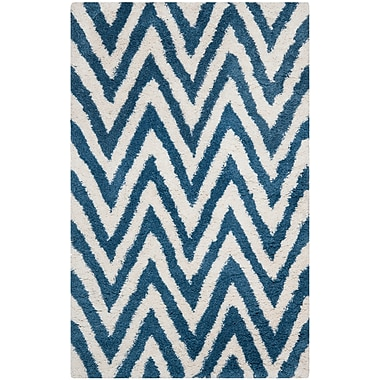 Safavieh Chevron Shag Rectangle Area Rug, 5' x 8', Ivory/Blue