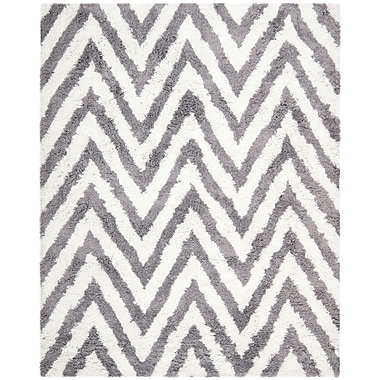 Safavieh Chevron Shag Rectangle Area Rug, 8' x 10', Ivory/Gray
