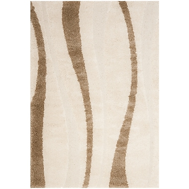 Safavieh Willow Shag Small Rectangle Area Rug, 4' x 6', Cream/Dark Brown