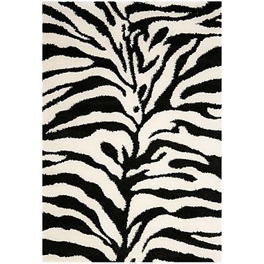 Safavieh Zebra Shag Small Rectangle Area Rug, 4' x 6', Ivory/Black