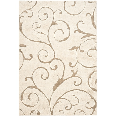 Safavieh Florida Sydney Shag Medium Rectangle Area Rug, 6' x 9', Cream/Beige