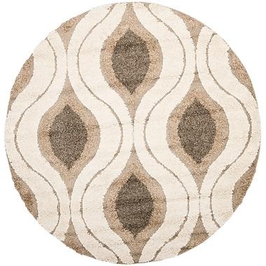 Safavieh Florida Joss Shag Round Area Rug, 4' x 4', Cream/Smoke