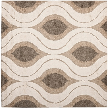 Safavieh Florida Joss Shag Square Area Rug, 5' x 5', Cream/Smoke