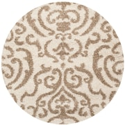 Safavieh Florida Holly Shag Round Area Rug, 5' x 5', Cream/Beige