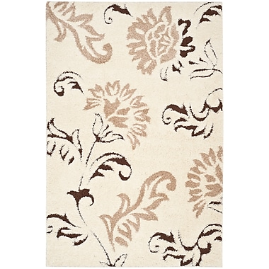 Safavieh Florida Grace Shag Small Rectangle Area Rug, 4' x 6', Cream/Dark Brown