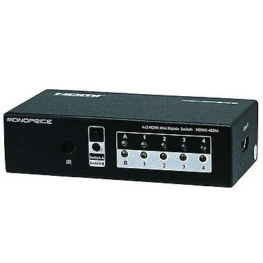 Monoprice® 106416 4 x 2 Matrix HDMI Powered Mini Switch With Remote