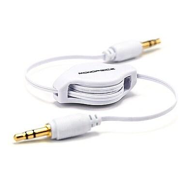 Monoprice® 2.5' Retractable 3.5mm Audio Cable, White