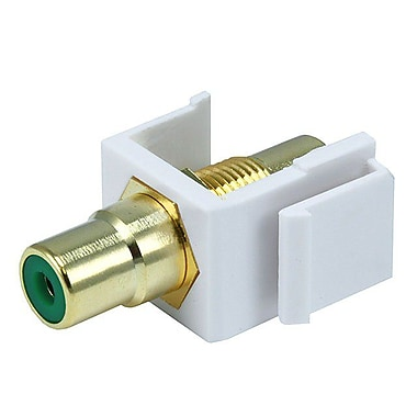 Monoprice® Modular RCA Keystone Jack With Green Center, White