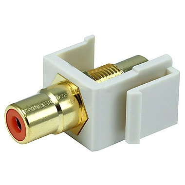 Monoprice® Modular RCA Keystone Jack With Orange Center, Ivory
