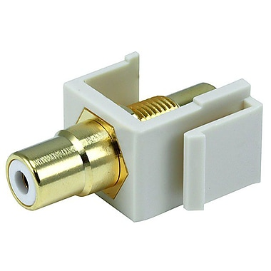 Monoprice® Modular RCA Keystone Jack With White Center, Ivory