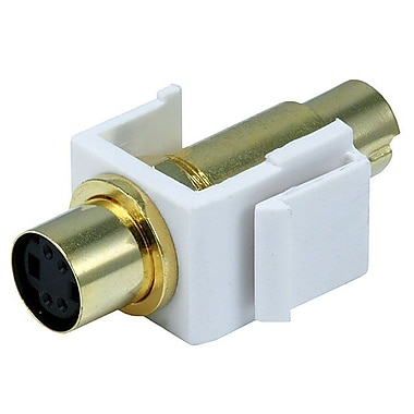 Monoprice® S-Video Mini 4 Pin Male to Female Keystone Jack, White