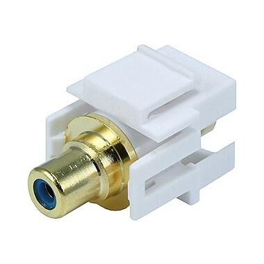 Monoprice® Flush Type Modular RCA Keystone Jack With Blue Center, White