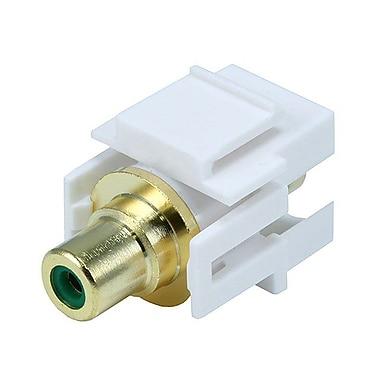 Monoprice® Flush Type Modular RCA Keystone Jack With Green Center, White