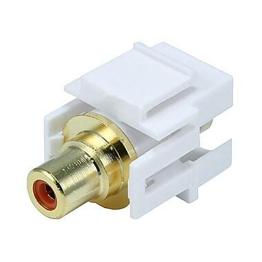 Monoprice® Flush Type Modular RCA Keystone Jack With Orange Center, White