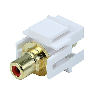 Monoprice® Flush Type Modular RCA Keystone Jack With Red Center, White