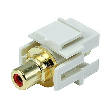 Monoprice® Flush Type Modular RCA Keystone Jack With Red Center, Ivory