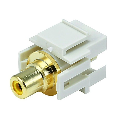 Monoprice® Flush Type Modular RCA Keystone Jack With Yellow Center, Ivory