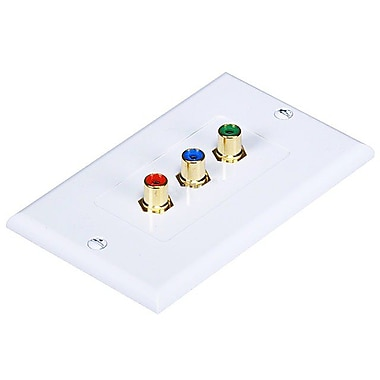 Monoprice® 3 RCA Component Two-Piece Inset Wall Plate, White
