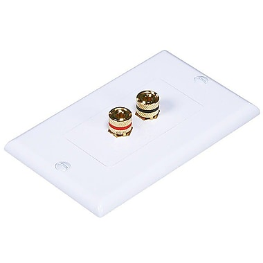 Monoprice® High Quality Banana Binding Post Two-Piece Inset Wall Plate For 1 Speaker, White