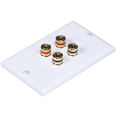 Monoprice® High Quality Banana Binding Post Two-Piece Inset Wall Plate For 2 Speaker, White